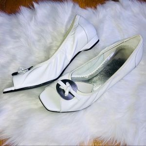 ROS HOMMERSON White Leather Peep Toe Flats